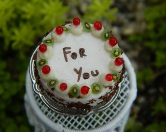 Miniature Birthday Cake On Plate Stand Dollhouse Accessories Fairy Garden Accessory For You Cake