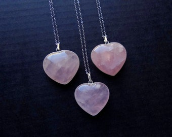 Rose quartz pendant etsy heart necklace rose quartz necklace rose quartz pendant rose quartz heart quartz jewelry valentines day gift silver pink stone necklace aloadofball Choice Image