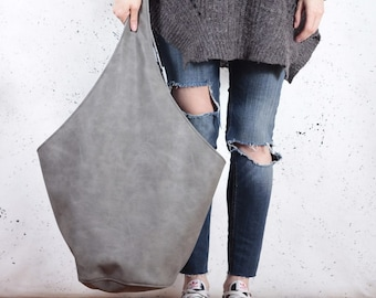 Grey hobo bag Vegan bag Best friend gift Vegan shoulder bag Hippie hobo bag Large handbag Everyday carry Daughter in law gift Wholesale boho