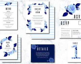 Hamptons style navy blue wedding invitations // ceramic style wedding invitations // wedding invitation suite