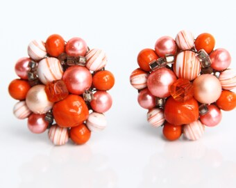 Vintage Orange Cream Beaded Clip on Earrings ~ Retro Costume Jewelry