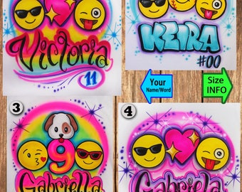 Airbrushed Any Emoji Name Birthday Custom T-shirt * Hooded Sweatshirt * Hoodie * Pillowcase * With Your Name * Your Favorite Paint Colors