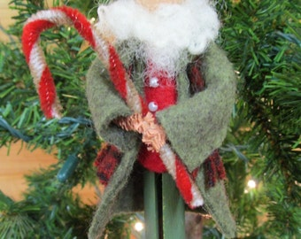 Santa Claus Christmas Ornament - Irish Santa, Clothespin Ornament, Wool Felt, Peg Doll, Ornament Exchange, Secret Santa Gift, Santa Ornament