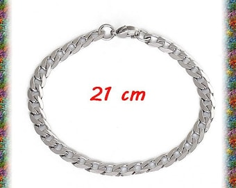 1 bracelet 21 cm stainless steel curb chain