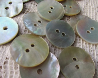 12 Natural Shell Buttons 11/16th Inch Mother Of Pearl Buttons HS-3