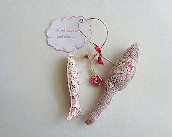 Small poetic hanging decoration, fish and bird for child's room or baby