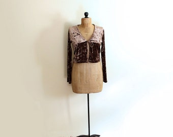 vintage shrug 90s brown metallic velvet grunge womens clothing 1990s top size medium m