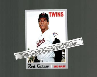 Rod Carew Minnesota Twins New, Custom Made 1970 Style Baseball Card.  3 1/2 x 2 1/2.  Mint Condition.