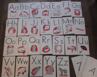 52 Vintage 1963 Milton Bradley Picture ABC Flashcards Flash Cards Black White Red Supply (#1369)