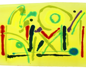 Contemporary Unframed Abstract Yellow Watercolor Painting by Jay Lefkowitz