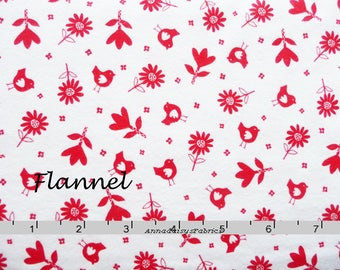 Red & White Flannel Fabric, Robert Kaufman 12878 Bonny Bloom, Lesley Grainger Designs, Red Flowers and Birds Quilt Flannel, Cotton