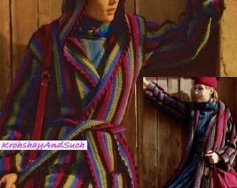 Ladies Long Hooded Jacket, Crochet Pattern. PDF Instant Download.