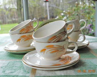 Homer Laughlin Golden Wheat 7 -  Cups and  6 -  Saucers