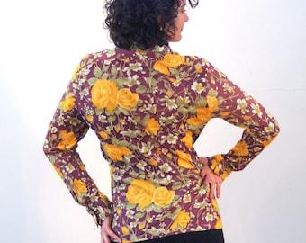 Charlize 70s Floral Disco Shirt M, Yellow & Purple Nylon Blouse, Mod 70s Blouse, Slinky Nylon Top, Retro Hipster Vintage Shirt, Medium