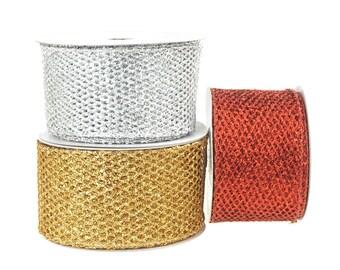 Metallic Tinsel Glitter Netting Mesh Christmas Ribbon, 2-1/2-Inch, 10 Yards