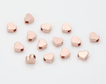 Heart Beads(Small)  Polished Rose Gold-Plated - 4 Pieces [B0023-PRG]