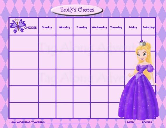 printable personalized kids chore chart princess purple