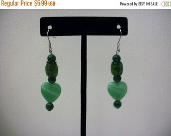 ON SALE Vintage Shades Of Green Artisan Dangle Earrings 1006