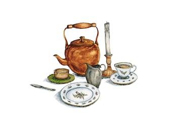 Tea Set - Watercolor Print - Jane Eyre - Gift  - Bronte - Literature - Home Decor - Wall Art