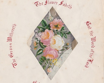 Antique Christian Calligraphy Verse on Paper with Collaged Rose Litho mid 1800's