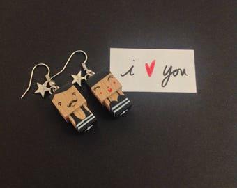 """Boucles d'oreilles figurines cubiques """"lovers"""" baigneurs style rétro noir et blanc"""