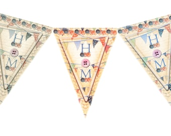 Royal Wedding bunting download 3 styles shabby chic vintage look jpg files just 99p Harry Meghan party decorations