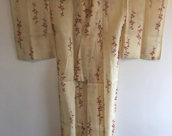 Vintage Japanese kimono,Traditional Japanese Wear, long kimono, Japanese kimono dress, kimono robe,bud branches see-through right beige/0093