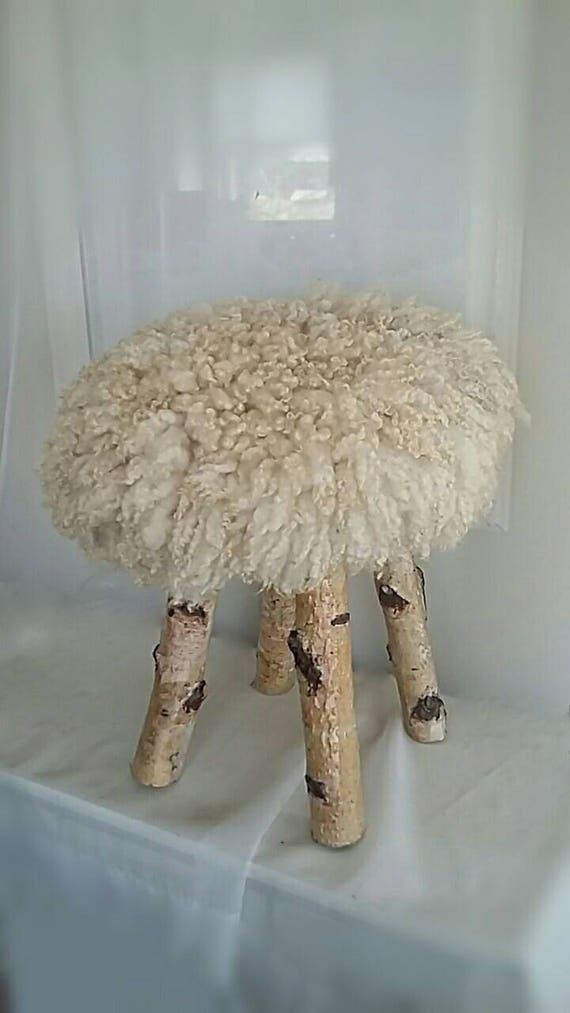 Round Footstool Ottoman With Sheep Friendly Felted