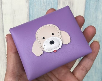 Pudding the Poodle leather coin pouch ( light purple )