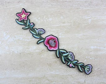 PINK FLOWER Patches, Green Leaves Appliques