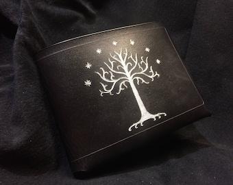 Seigneur en cuir noir de la pochette de bagues arbre blanc du Gondor