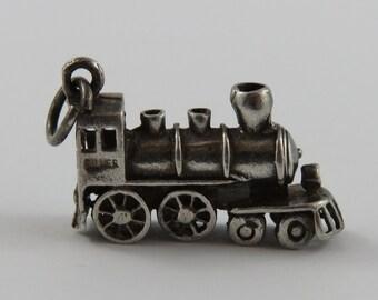 Train Engine Silver Vintage Charm For Bracelet