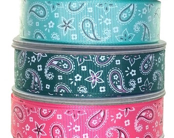 Paisley Grosgrain Ribbon 1mt-20 Yard Roll