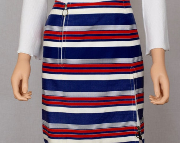 Vintage 1960's Women's MOD David Smith Red White Blue Striped Zippered Skort Mini Skirt S