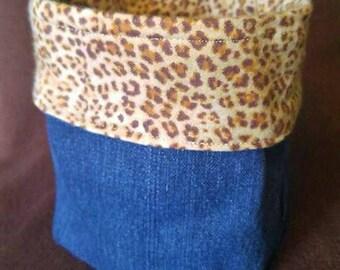 Upcycled Blue Jean Denim Storage Bin Basket - Cheetah