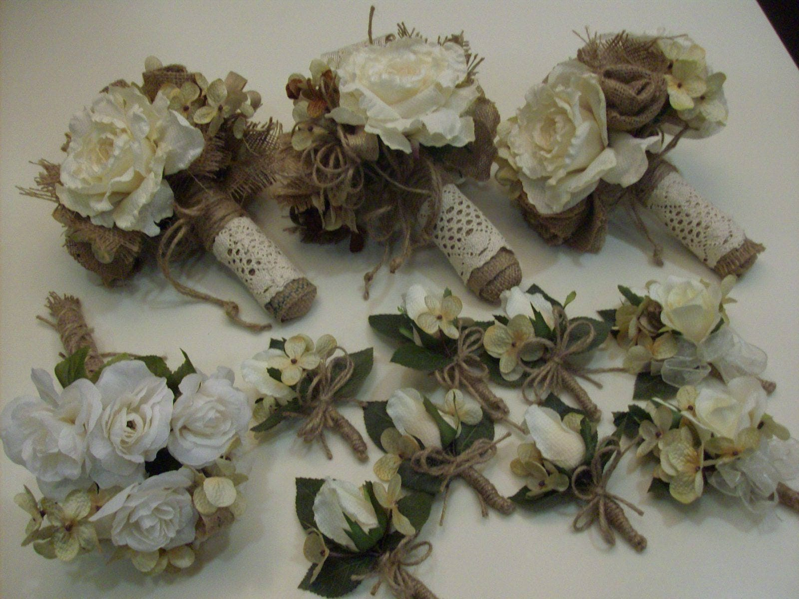 Burlap And Lace Bridal Bouquet Rustic Bridesmaid Bouquet Or