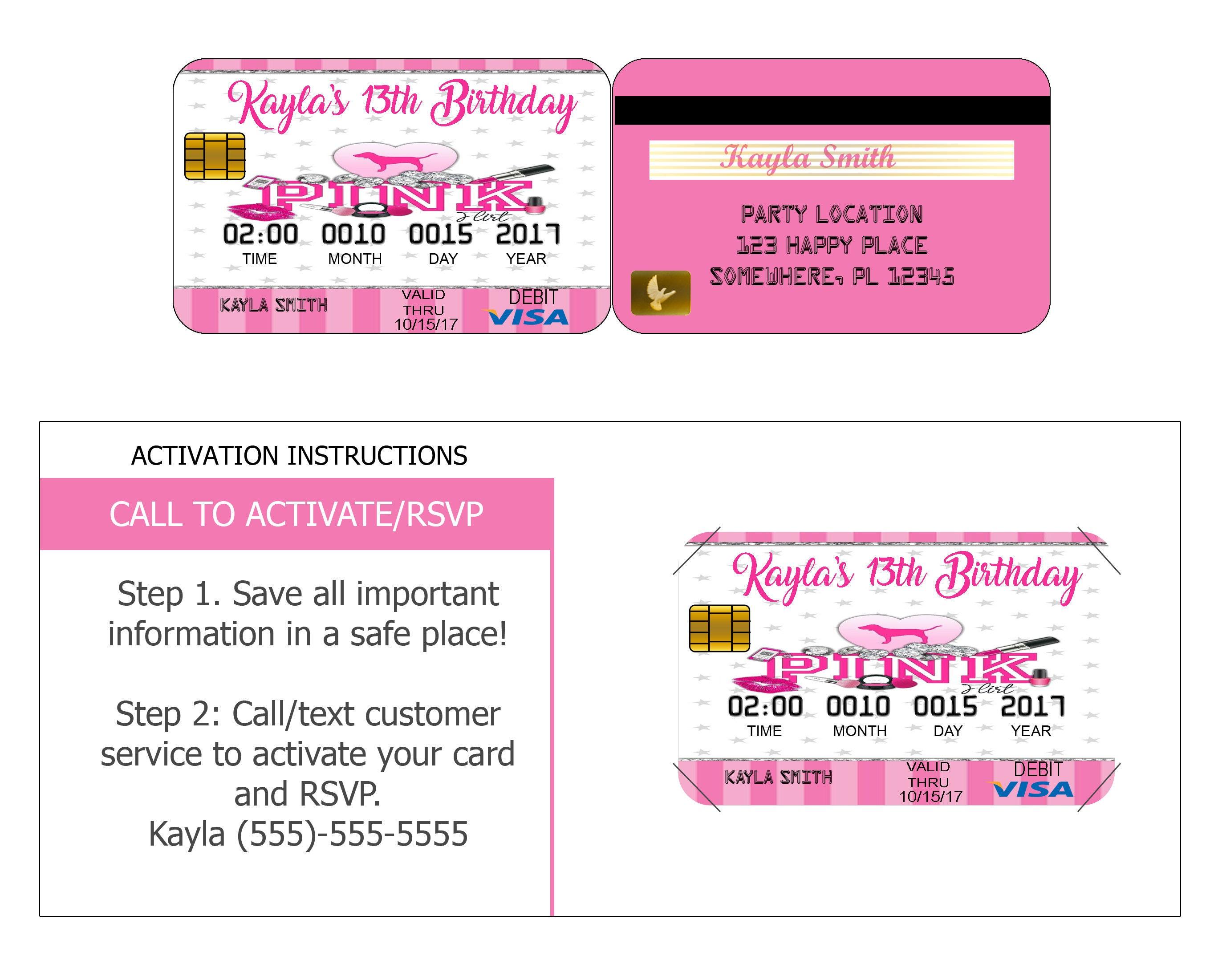 Victoria Secret Pink Credit Card Invitation Pink Credit Card