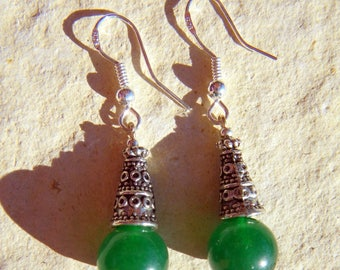 Sterling Silver 925 CONE Elf forest emerald green AGATE EARRINGS