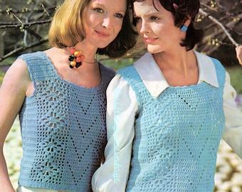 Crochet Pattern PDF Womens Ladies Summer Top Vest Tank Top  Double Knit