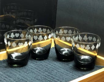 Playing Card Glasses, Game Night, Poker Night, Casino Night, Clubs, Spades, Hearts, Diamonds, Rocks Glasses, Glassware