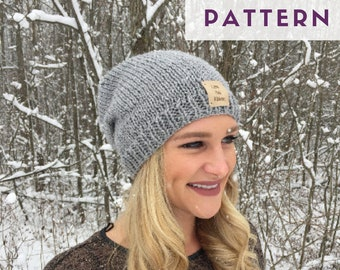 PATTERN // Slouchy Knit Hat Pattern // Knit Hat Pattern // Slouchy Beanie // Adult & Teen Hat Pattern // Beginner Knit Pattern