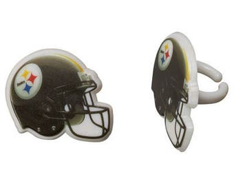 12 Pittsburgh Steelers Cupcake Rings NFL Football Toppers Party Favors