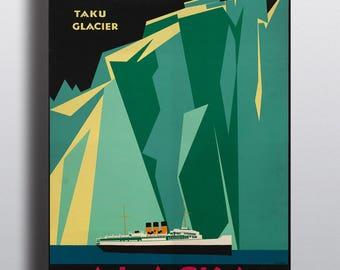 Alaska Vintage Travel Poster Print