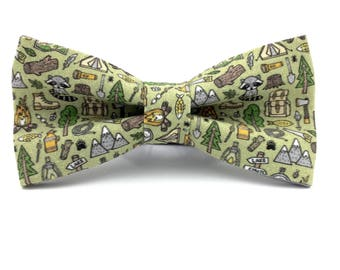 Adult Woodland Bowtie, Camping Bow Tie in Green, Handmade Bow Tie, Novelty Bow Tie, Mens Bowties By AmandaJoHandmade on Etsy