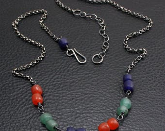 Tradewinds Confetti Necklace in Green, Blue, and Red Glass and Sterling Silver