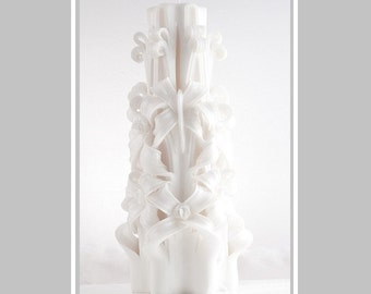 Wedding Candle - Carved candle - White candle - Wedding gift - Large Candle
