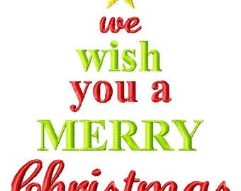 Word Christmas Tree Machine Embroidery Design