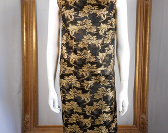 Vintage 1960's Mary Hayes Black & Gold Metallic Brocade 2-Piece Evening Dress - Size 0