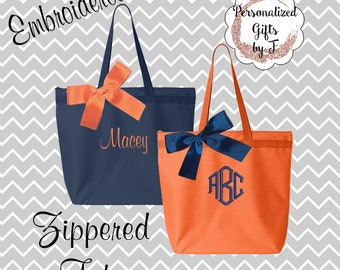 Personalized Zippered Tote Bag Bridesmaids Gifts Set of 8 Monogrammed Tote, Bridesmaids Tote, Personalized Tote