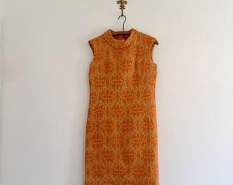 Vintage 60's Orange Brocade Dress S